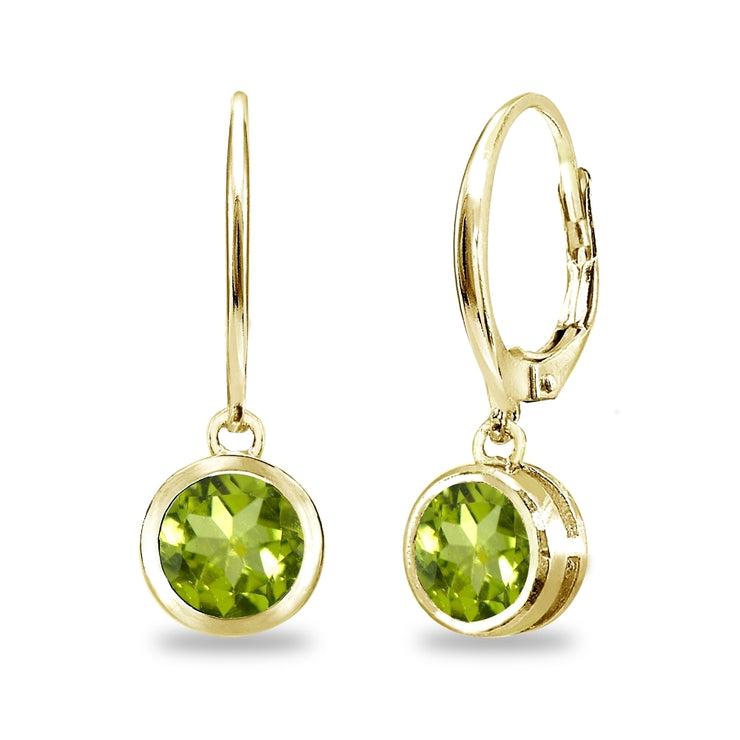 Gold Flash Sterling Silver Peridot 6mm Round Bezel-Set Dangle Leverback Earrings