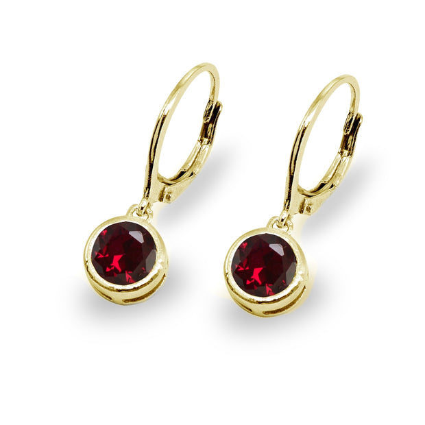 Gold Flash Sterling Silver Created Ruby 6mm Round Bezel-Set Dangle Leverback Earrings