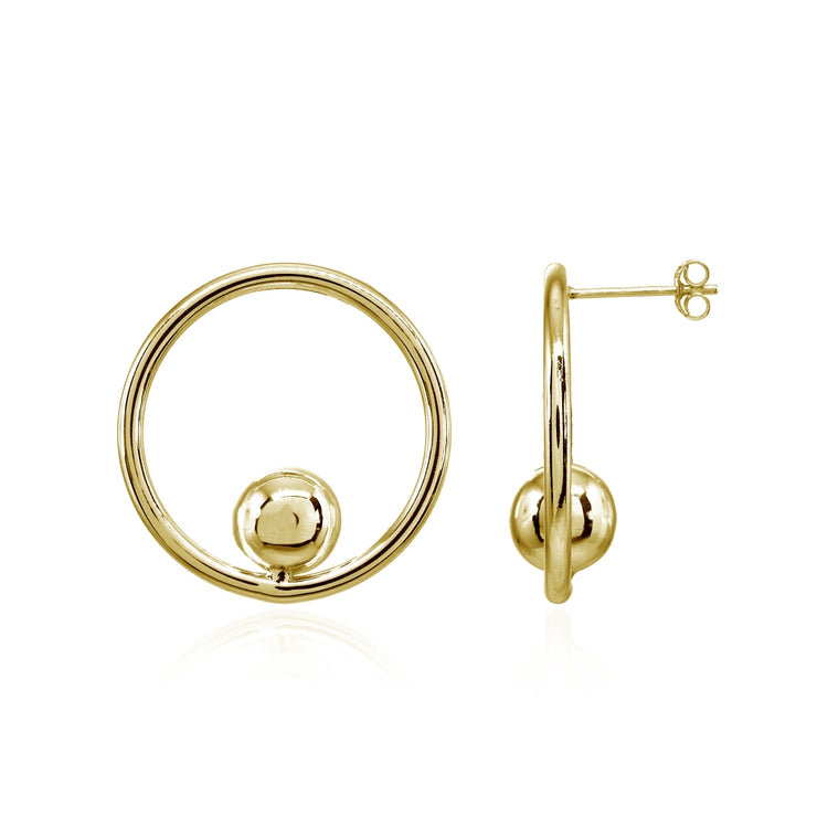 Yellow Gold Flashed Sterling Silver Polished Open Circle Beaded Frontal Hoop Drop Earrings