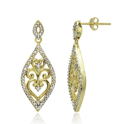 Yellow Gold Flashed Sterling Silver Polished Filigree Diamond Accent Statement Chandelier Drop Dangle Earrings, JK-I3