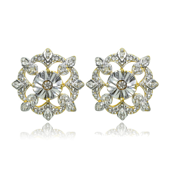 Yellow Gold Flashed Sterling Silver Polished Snowflake Diamond Accent Stud Earrings, JK-I3