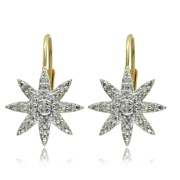 Yellow Gold Flashed Sterling Silver Polished Snowflake Star Diamond Accent Leverback Earrings, JK-I3