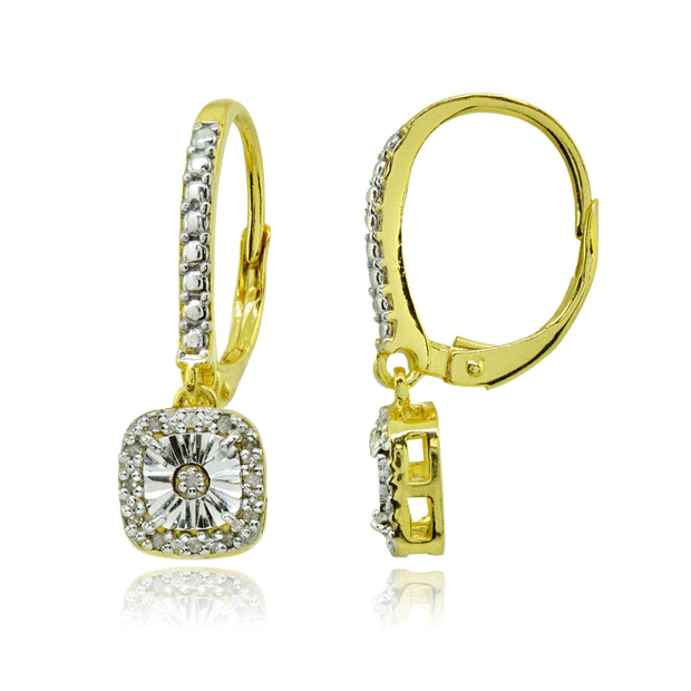 Yellow Gold Flashed Sterling Silver Polished Square Cushion Diamond Accent Leverback Earrings, JK-I3