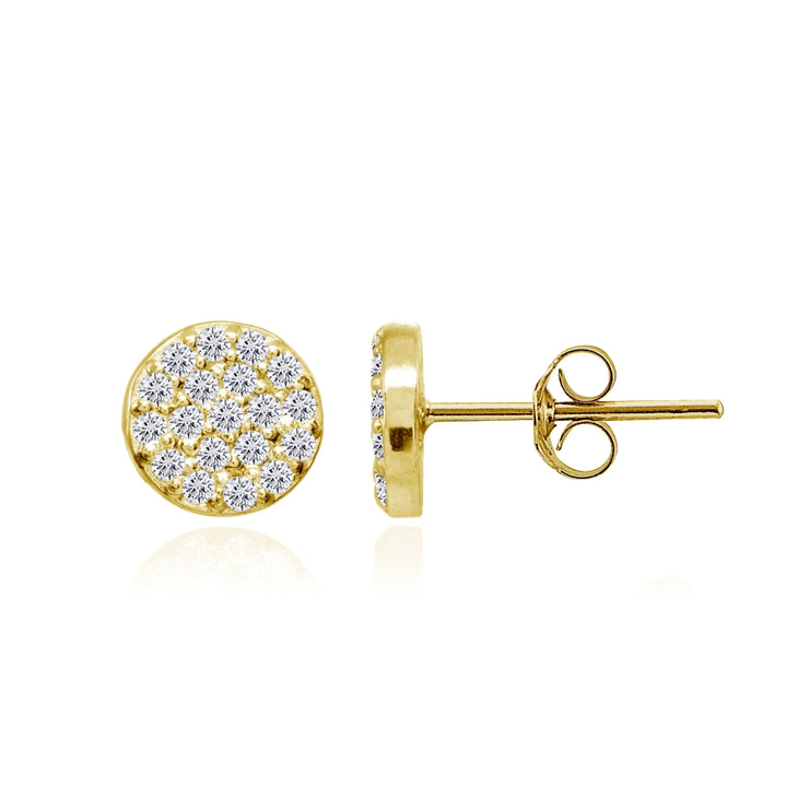 Yellow Gold Flashed Sterling Silver Cubic Zirconia Round Polished Disc 8mm Small Button Stud Earrings