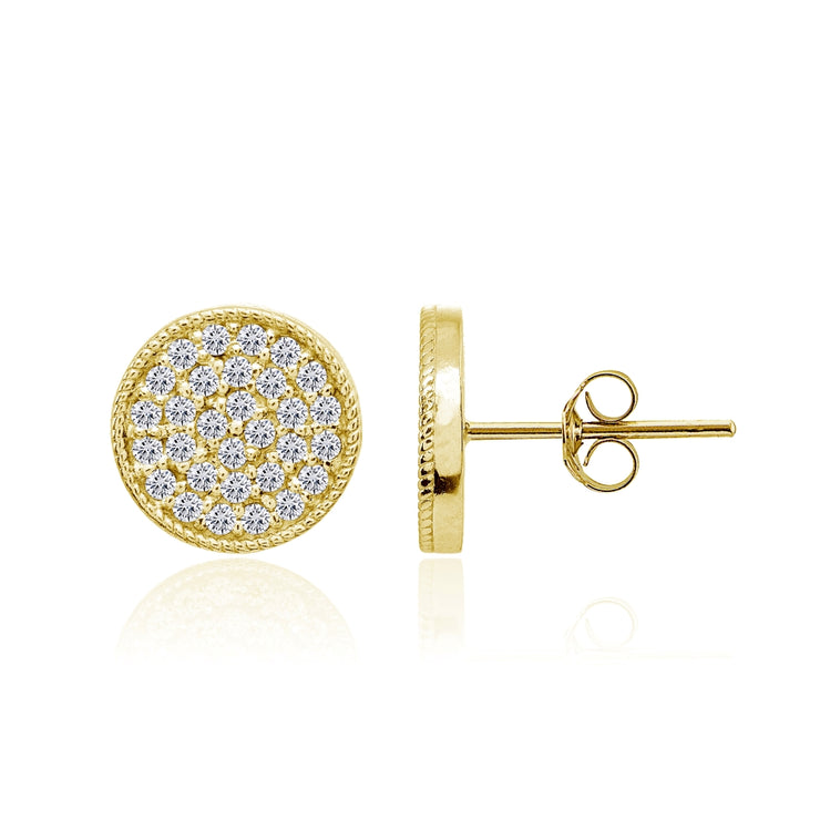 Yellow Gold Flashed Sterling Silver Cubic Zirconia Round Polished Disc 11mm Small Button Stud Earrings
