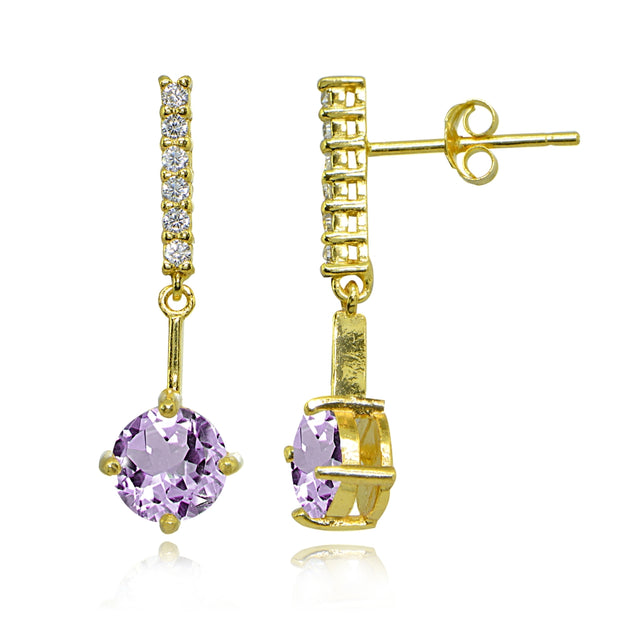 Yellow Gold Flashed Sterling Silver Amethyst & White Topaz Round Encrusted Bar Dangle Drop Earrings