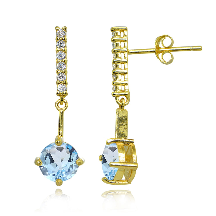 Yellow Gold Flashed Sterling Silver Blue & White Topaz Round Encrusted Bar Dangle Drop Earrings