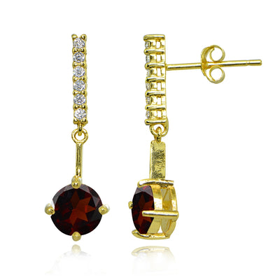 Yellow Gold Flashed Sterling Silver Garnet & White Topaz Round Encrusted Bar Dangle Drop Earrings