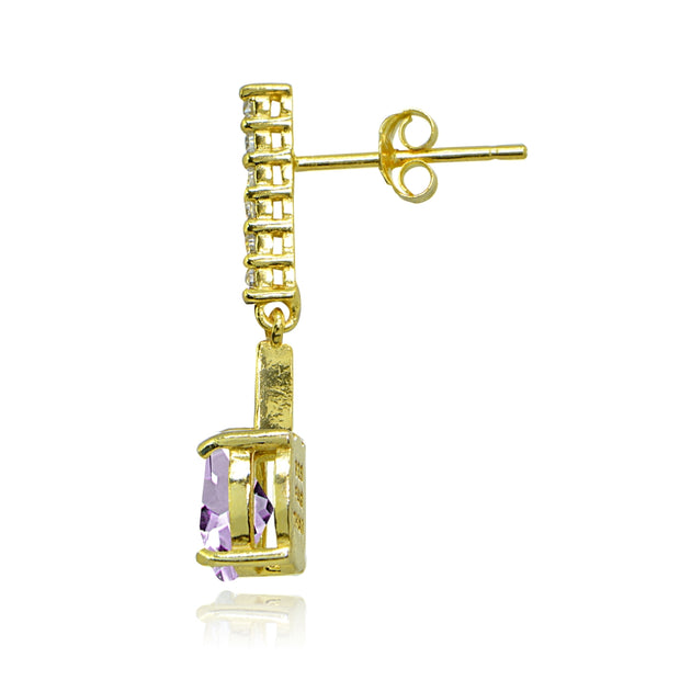 Yellow Gold Flashed Sterling Silver Amethyst & White Topaz Oval Encrusted Bar Dangle Drop Earrings