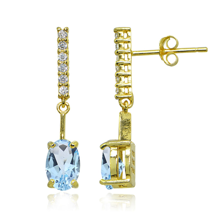 Yellow Gold Flashed Sterling Silver Blue & White Topaz Oval Encrusted Bar Dangle Drop Earrings