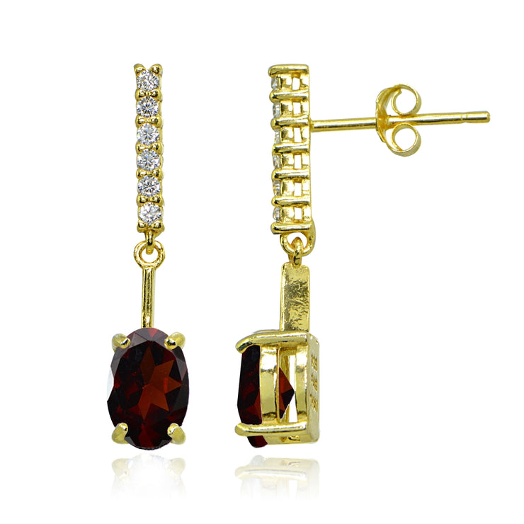 Yellow Gold Flashed Sterling Silver Garnet & White Topaz Oval Encrusted Bar Dangle Drop Earrings