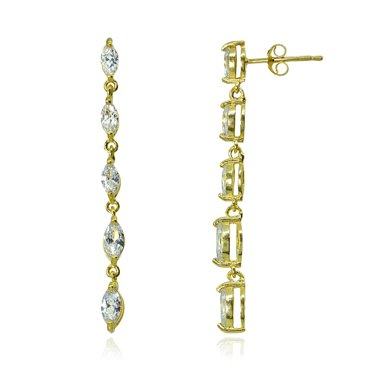 Yellow Gold Flashed Sterling Silver Cubic Zirconia Marquise-cut Long Dangle Drop Earrings