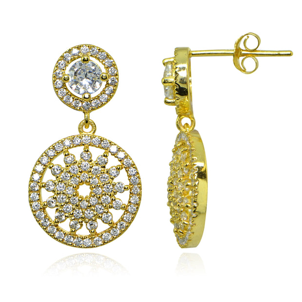 Yellow Gold Flashed Sterling Silver Polished Cubic Zirconia Round Medallion Cluster Dangle Drop Earrings