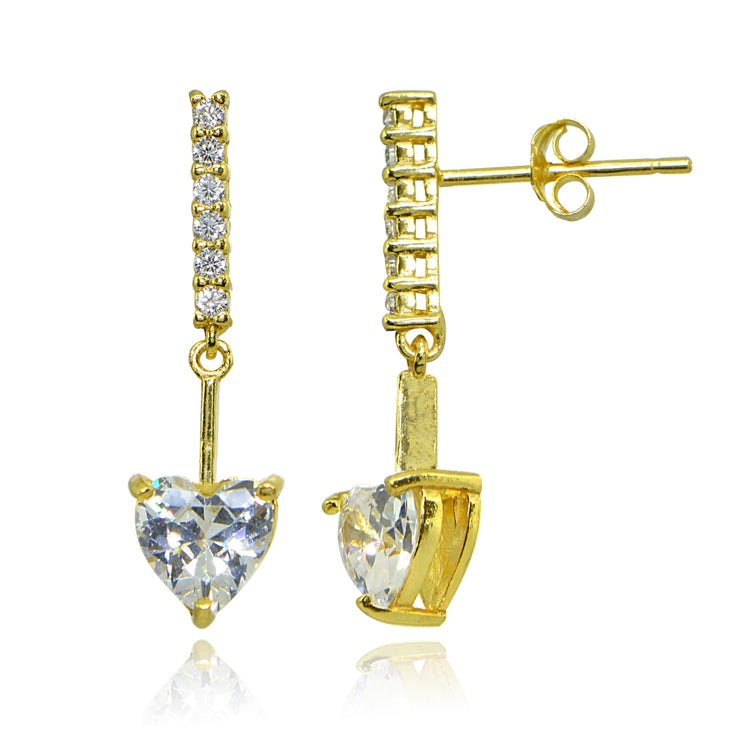 Yellow Gold Flashed Sterling Silver Cubic Zirconia Heart Encrusted Bar Statement Dangle Drop Earrings