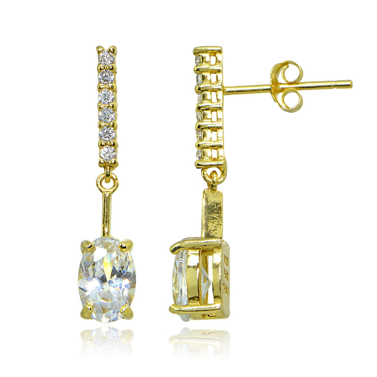 Yellow Gold Flashed Sterling Silver Cubic Zirconia Oval-cut Encrusted Bar Statement Dangle Drop Earrings