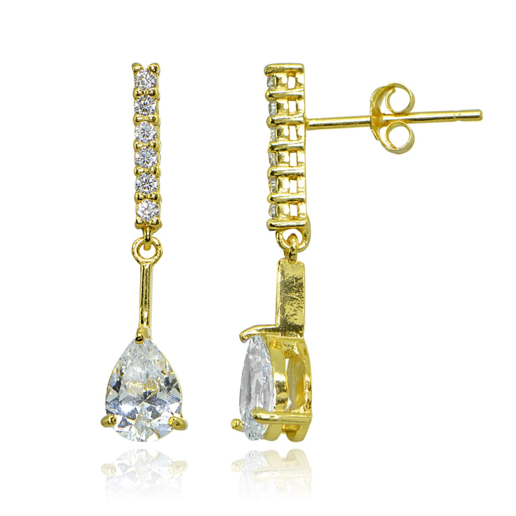 Yellow Gold Flashed Sterling Silver Cubic Zirconia Teardrop Encrusted Bar Statement Dangle Drop Earrings