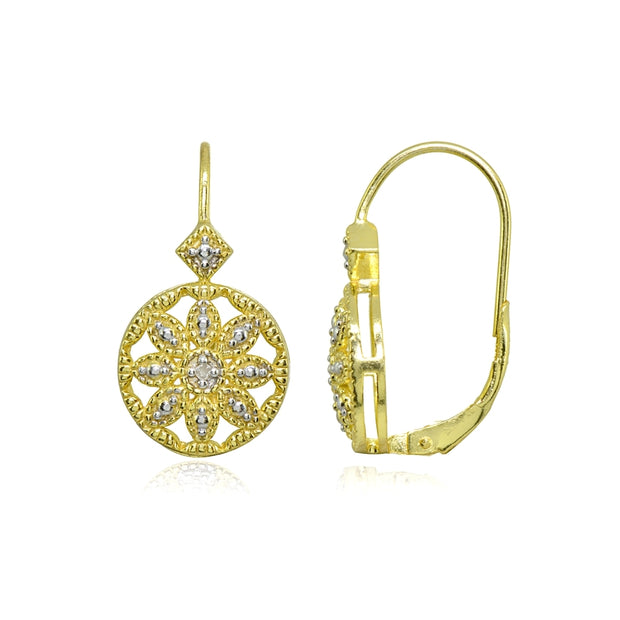 Gold Flash Sterling Silver Diamond Accent Filigree Flower Medallion Round Leverback Drop Earrings