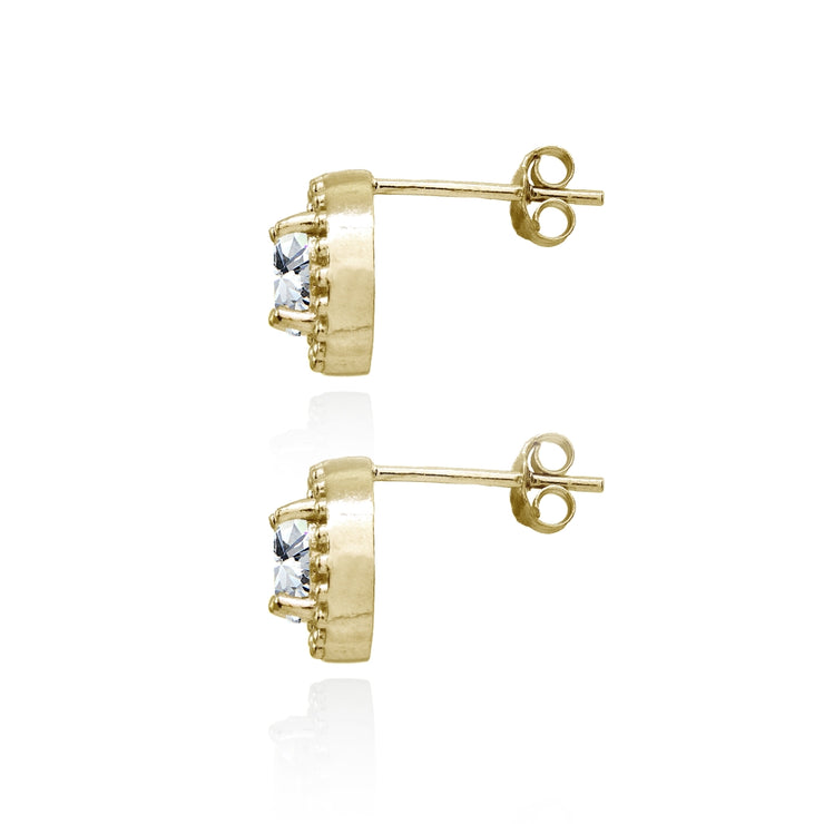 Yellow Gold Flashed Sterling Silver Cubic Zirconia Round-Cut Beaded Halo 10mm Stud Earrings