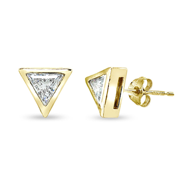 Yellow Gold Flashed Sterling Silver 6mm Triangle-Cut Bezel-Set Solitaire Stud Earrings Made with Swarovski Zirconia