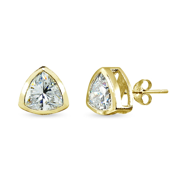 Yellow Gold Flashed Sterling Silver 7mm Trillion-Cut Bezel-Set Solitaire Stud Earrings Made with Swarovski Zirconia