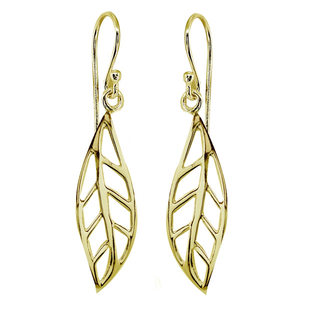 Yellow Gold Flashed Sterling Silver Polished Leaf Fall Autumn Dangle Earrings