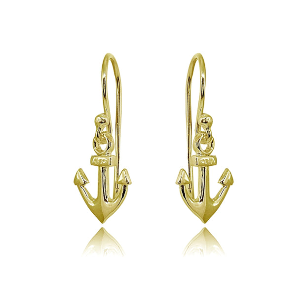 Yellow Gold Flashed Sterling Silver Polished Anchor Nautical Navy Dangle Earrings