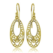 Yellow Gold Flashed Sterling Silver Polished Oval Heart Filigree Cut Out Dangle Earrings