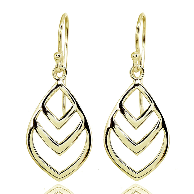 Yellow Gold Flashed Sterling Silver Polished V Chevron Leaf Nature Dangle Earrings