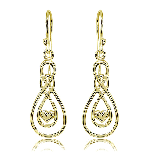 Yellow Gold Flashed Sterling Silver Polished Heart Double Infinity Dangle Earrings