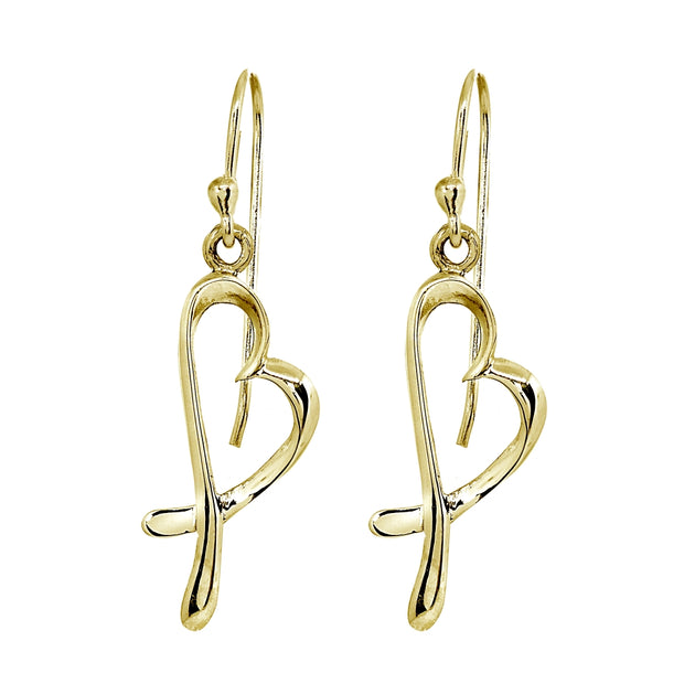 Yellow Gold Flashed Sterling Silver Polished Heart Love Dangle Earrings