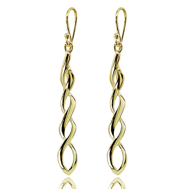 Yellow Gold Flashed Sterling Silver Polished Infinity Swirl Twist Dangle Earrings