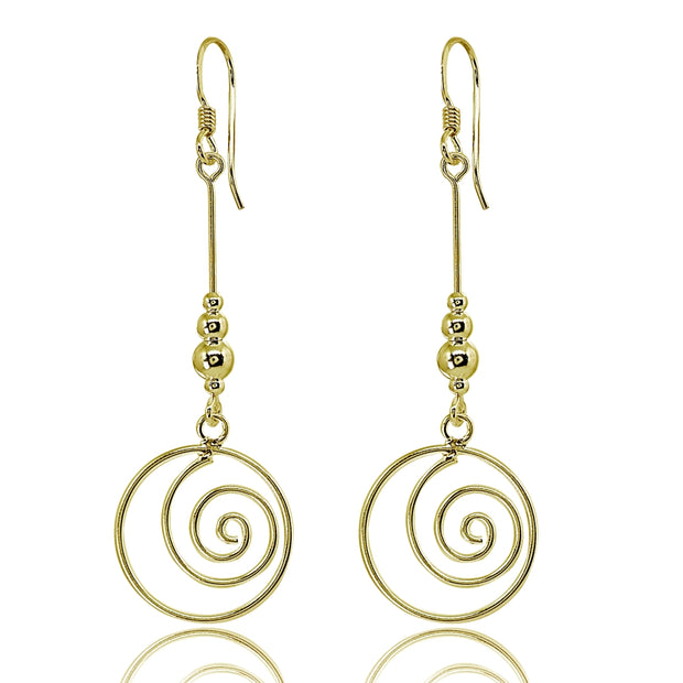 Yellow Gold Flashed Sterling Silver Polished Spiral Swirl Beads Long Dangle Earrings