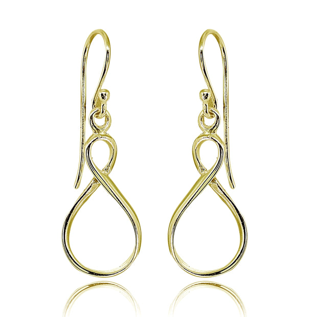 Yellow Gold Flashed Sterling Silver Polished Infinity Symbol Figure 8 Dangle Earrings