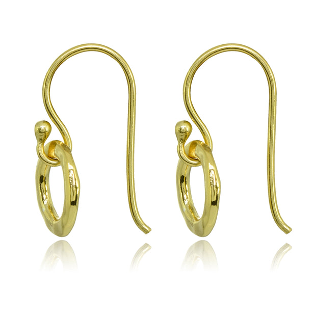 Yellow Gold Flashed Sterling Silver Polished Small Circle Frontal Hoop Dangle Earrings