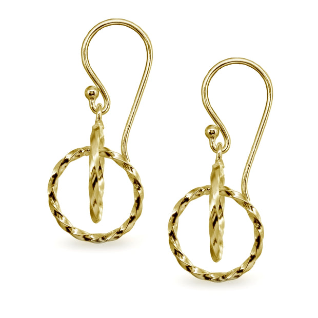 Yellow Gold Flashed Sterling Silver Polished Interlocking Twist Hoop Circles Dangle Earrings