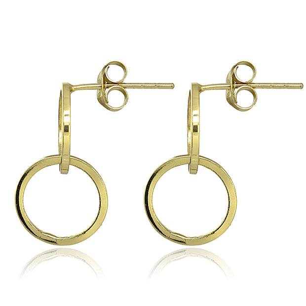 Yellow Gold Flashed Sterling Silver Polished Interlocking Double Circle Frontal Hoop Drop Earrings