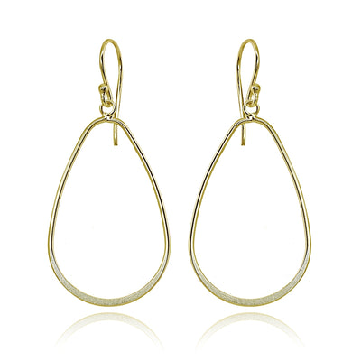 Yellow Gold Flashed Sterling Silver Polished Open Teardrop Hoop Dangle Earrings