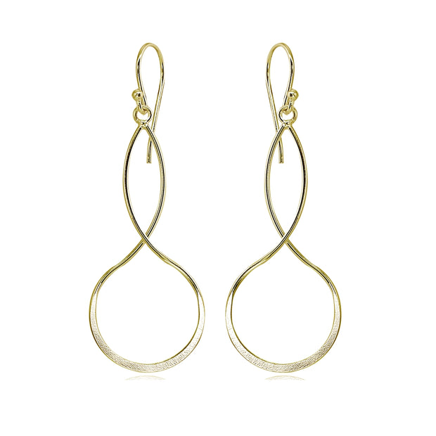 Yellow Gold Flashed Sterling Silver Polished Infinity Symbol Marquise Shape Dangle Earrings
