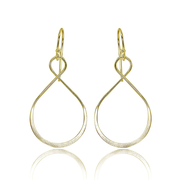 Yellow Gold Flashed Sterling Silver Polished Infinity Symbol Teardrop Shape Dangle Earrings
