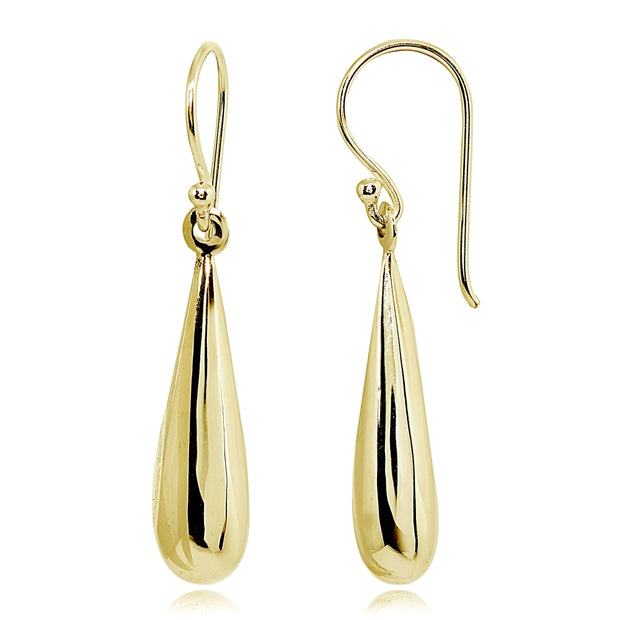 Yellow Gold Flashed Sterling Silver Polished Teardrop Dangle Drop Earrings
