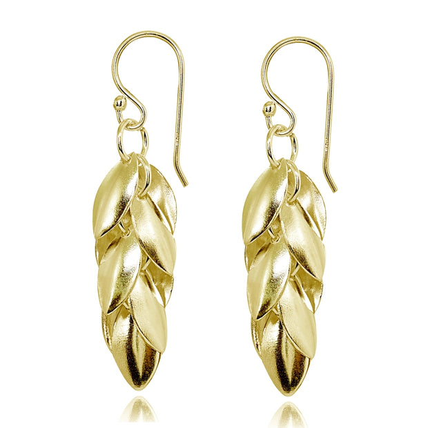 Yellow Gold Flashed Sterling Silver Polished Leaf Petals Dangle Drop Earrings