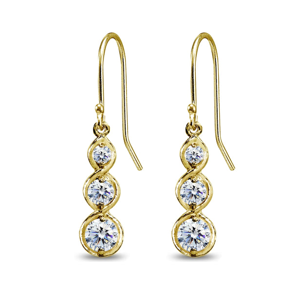 Yellow Gold Flashed Sterling Silver Round Three Stone Journey Infinity Dangle Earrings Made with Swarovski Zirconia