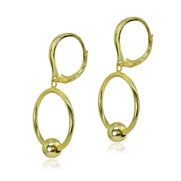 Yellow Gold Flashed Sterling Silver Polished Frontal Hoop Circle Bead Drop Dangle Leverback Earrings