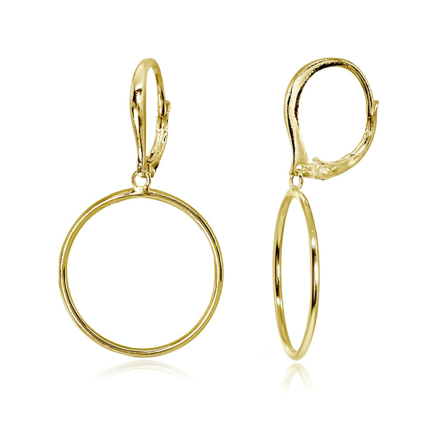 Yellow Gold Flashed Sterling Silver Polished 20mm Frontal Hoop Circle Drop Dangle Leverback Earrings