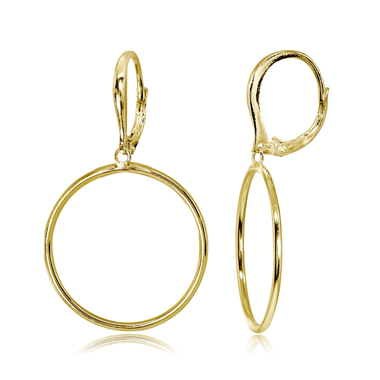 Yellow Gold Flashed Sterling Silver Polished 30mm Frontal Hoop Circle Drop Dangle Leverback Earrings