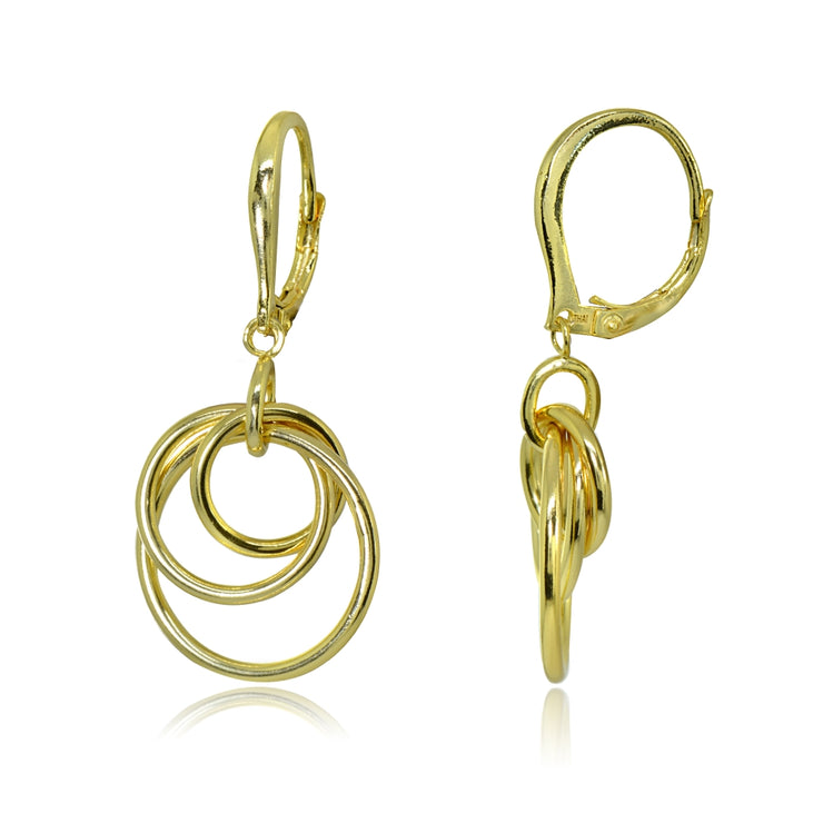 Yellow Gold Flashed Sterling Silver Polished Frontal Hoops Interlocking Circle Link Drop Dangle Leverback Earrings