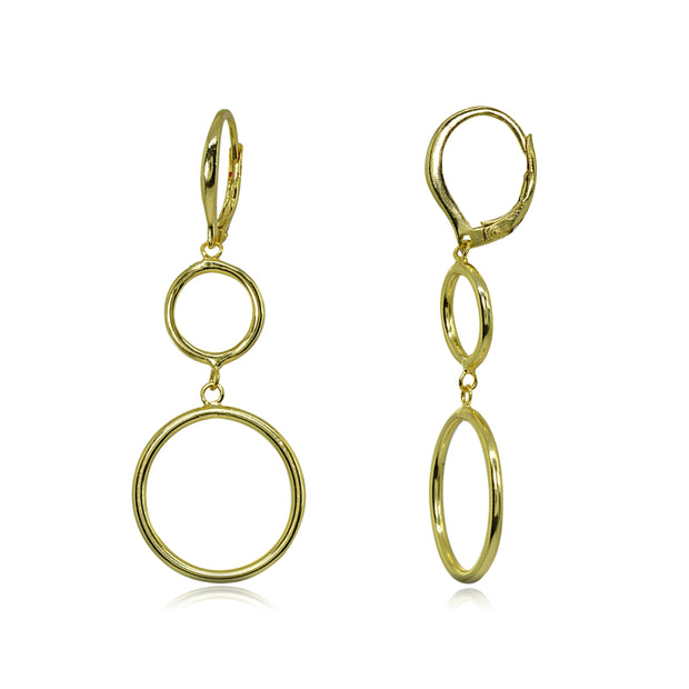 Yellow Gold Flashed Sterling Silver Polished Double Frontal Hoops Circles Drop Dangle Leverback Earrings