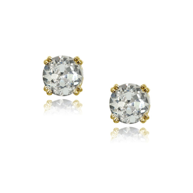 Yellow Gold Flashed Sterling Silver Clear Crystal 8mm Round Solitaire Small Stud Earrings