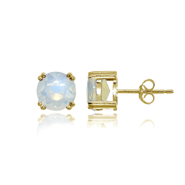 Yellow Gold Flashed Sterling Silver Simulated White Opal 8mm Round Solitaire Small Stud Earrings