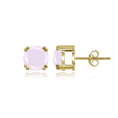 Yellow Gold Flashed Sterling Silver Pink Crystal 8mm Round Solitaire Small Stud Earrings